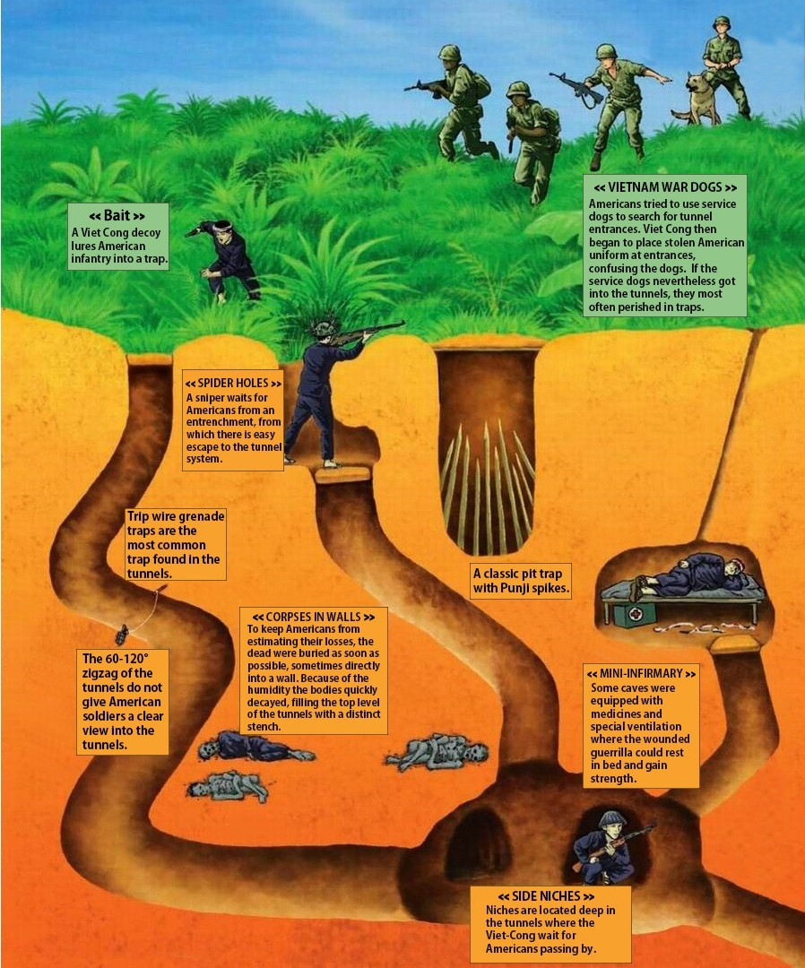 Vietnamese Tunnels. . p Americans tried he use service uniform at entrar we confuse m the dogs. lithe service dags nevertheless gut into the niels, they most g