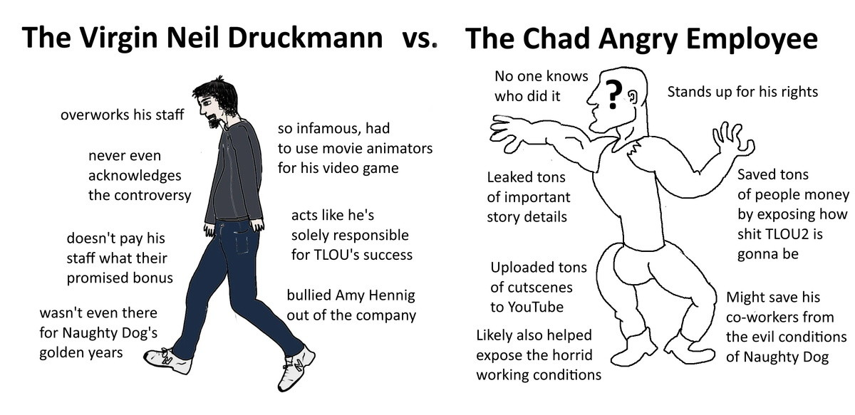 Virgin Druckmann vs Chad Leaker. .. Will Druckman get the sack? Even just as damage control by the PR department.