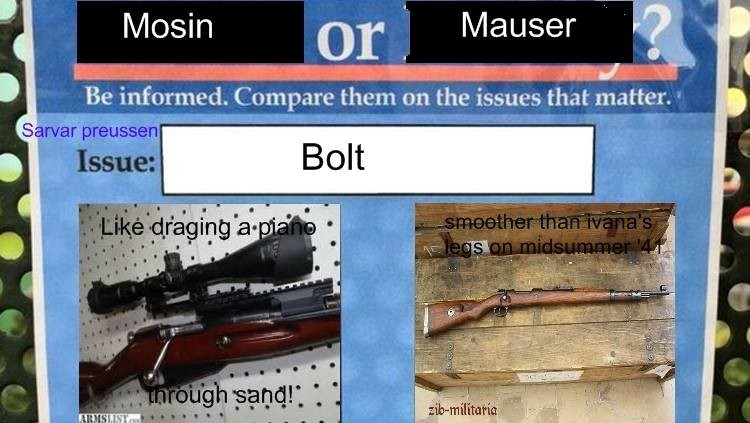 "Vote Mauser. . losin or"", Mauser . ? Be informed, on the matter,. Is that even a question?"