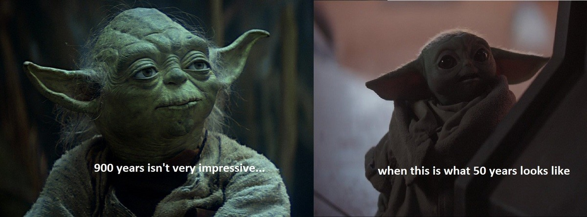Wait how does this work?. .. It's even weirder when you realize Yoda became a Jedi Master at around 100.