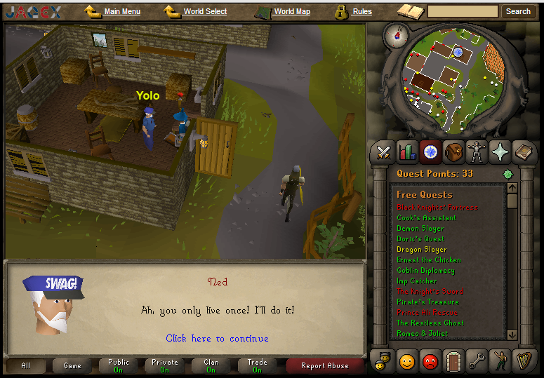 Was doing Dragon Slayer when suddenly.... Was doing dragon slayer quest in the newly opened Old School Runescape, and saw this. 100% OC.. sea t Quest Points: 33