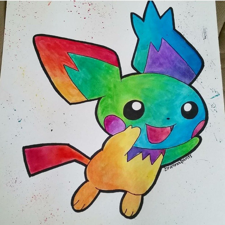 Watercolor Pichu. .. Stop giving Pokemon drugs, its not good for them! Pretty awesome drawin doe