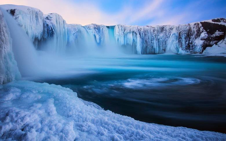 Waterfall in iceland. majestic.. I think that's an icefall in Waterland.