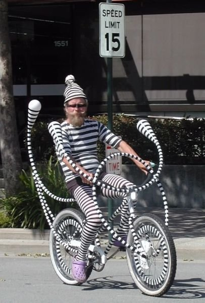 Well.. A least it all matches... They won't steal that bike... So is he like Waldo's cooler cousin then?