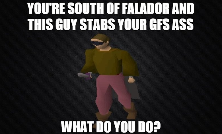 """What do you do?. You're south of falador and this guy stabs your gf's ass What do you do?. IIE (ltr AND THIS SIN STAB YOUR SIS ASS WHAT BO """"Ill III]?. buy a new one"""