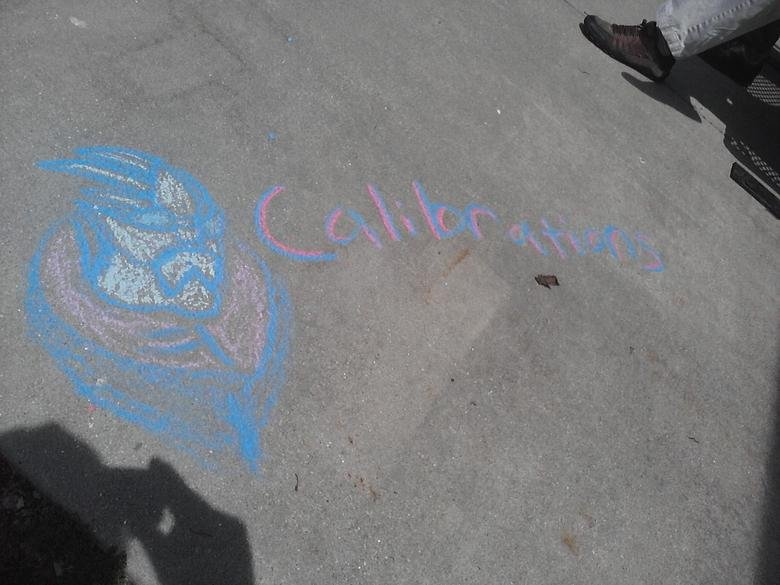 What I learned in college today is!. I was bored, so I drew Garrus in chalk.