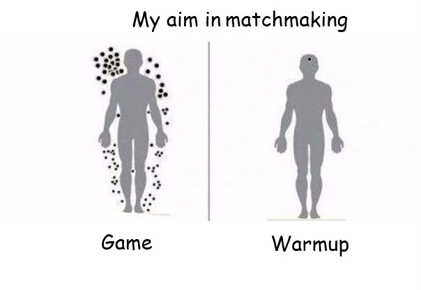"""When I play CS:GO. Everytime.. My aim in matchmaking Warmup. """"Just be calm and relax your aim while half the enemy team takes potshots at you with the one-hit wonder."""""""