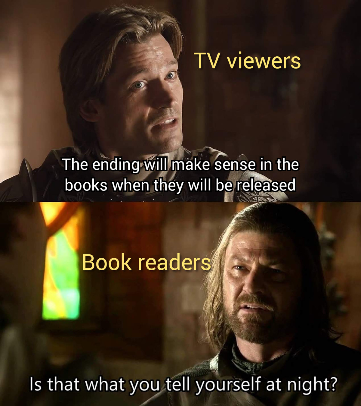 """When?"" Please. .. Believing the books will ever be finished."