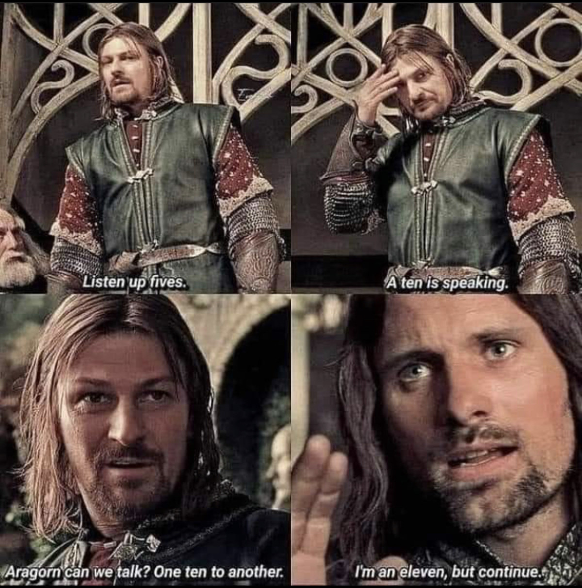 When the Bards become the party leaders. .. Fun fact, the actor who plays Aragorn (Viggo Mortensen) in Lord of the Rings the Fellowship of the Ring made a cameo appearance as the same character in Lord of