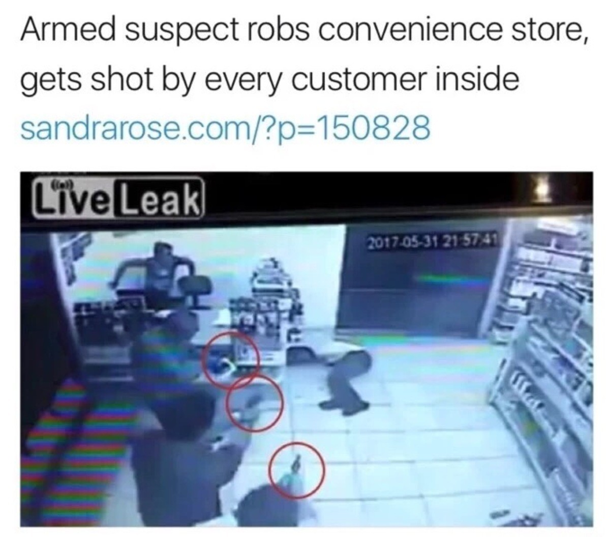 """When you rob a store in Texas. . errned susp) ect robs convenience store, gets shot Ict/ every '"""" inside sindragosa. com/'?. god i wish I lived in America"""