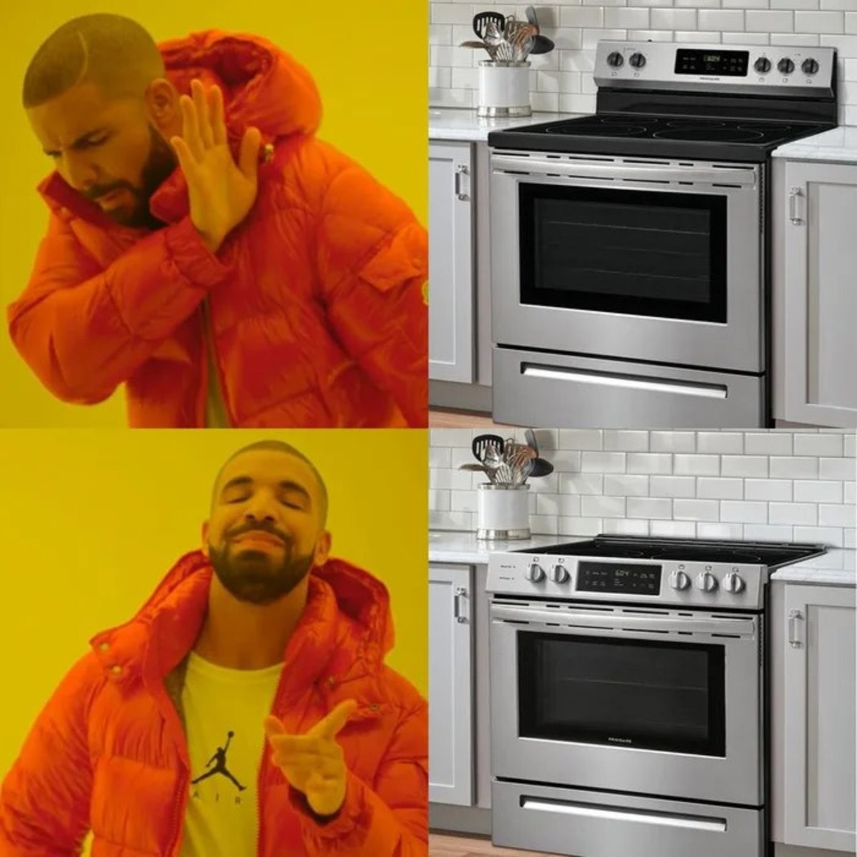 whose idea was this. who wants to reach over the hot pots and pans to reach the controls.. I'm not a manlet, so I don't have that problem.