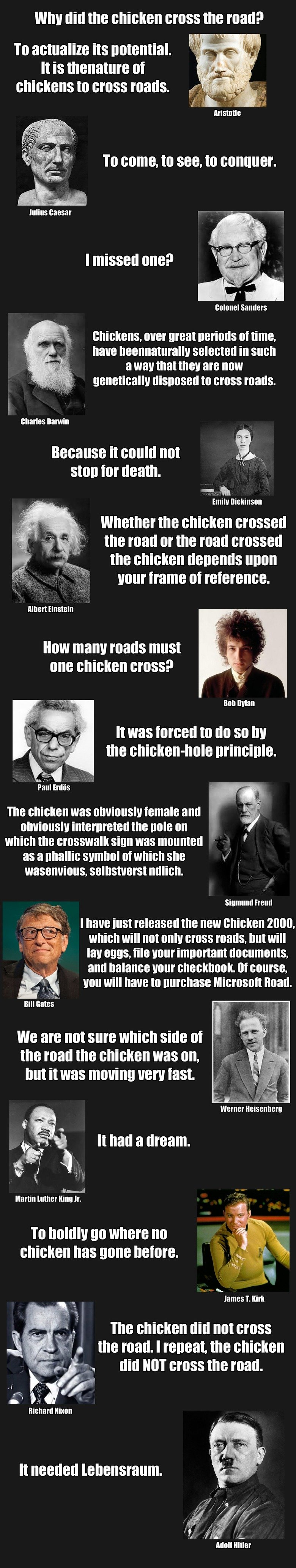 Why did the chicken cross the road?. Original answers and more can be found her: I just picked my favourites... To activate the D