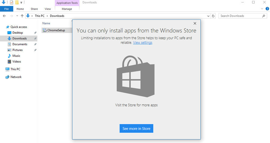 """Windows 10 can block non-store apps. You can turn this """"feature"""" off in the settings but it's still scummy. Source: . Home Share View Manage Name Quic"""