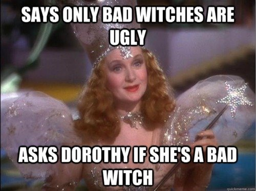 """Wizard of Oz. . SAYS """", WIMBLES ABE ASKS If A an mien. SO REMEMBER KIDS, BEING UGLY = EVIL"""