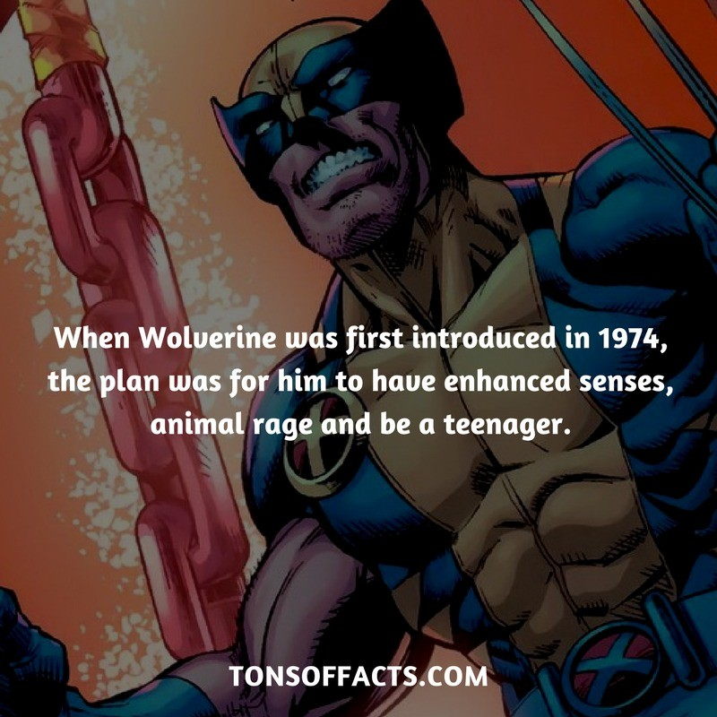 Wolverine was supposed to be a teenager. Source: . When Wolverine was first introduced in 1974, the plan was for him to hauo enhanced senses, animal rage and be