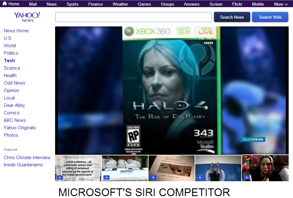 WTF??!?! (desc). Yahoo! talking about Cortana, the virtual AI coming to Windows products starting this spring and then showing the Halo 4 boxart and something l