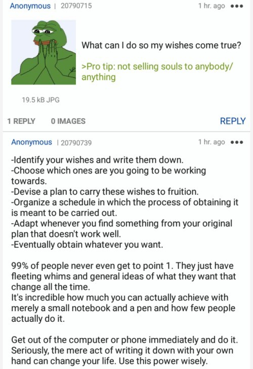 /x/. join list: HappyThoughts (1573 subs)Mention History. Anonymous I seasons yhr. ago on What can I do so my wishes come true? tip: not selling souls to anybod