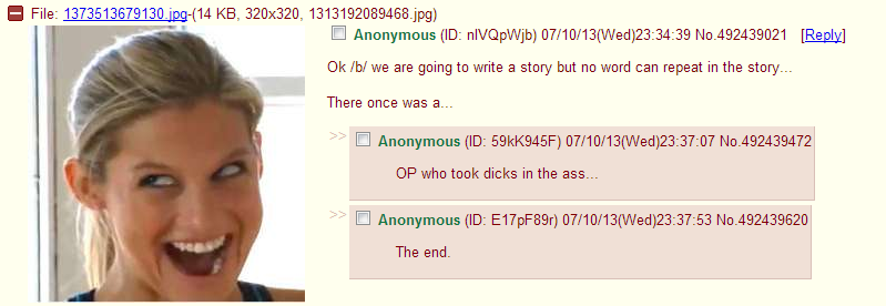 Yet another amazing story by /b/. . MI File: 1373513_ -( 14 KB, 320x320, , jpg) OK/ h/ we are going to write a story but no word can repeat in the story- There