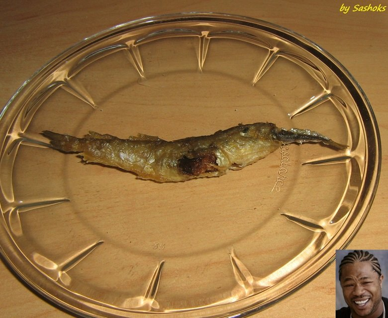 Yo dawg I herd you like fish. OC... I was having lunch, yeah this whole fish and a half is my meal and I saw this true masterpiece of nature the fish was fried