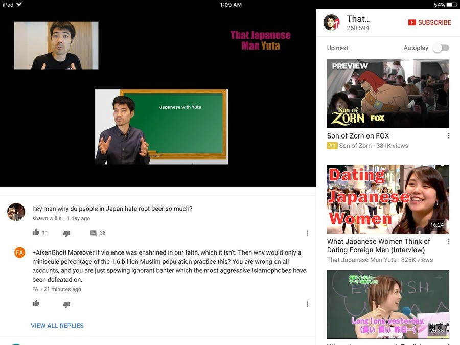 YouTube comments. . ll masseuse girl Autoplay Japanese with Yuta Son of Zorn on FDR Son oftern ' views hey man why do people in Japan hate root beer so much? sh