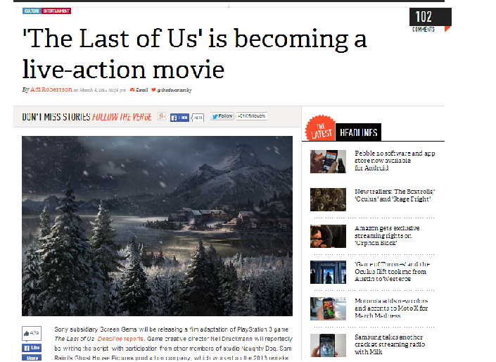 Zambies. Naughty dog has decided to let out a live action movie of 'The Last Of Us' for those who don't know I will apply a link where you can read the article