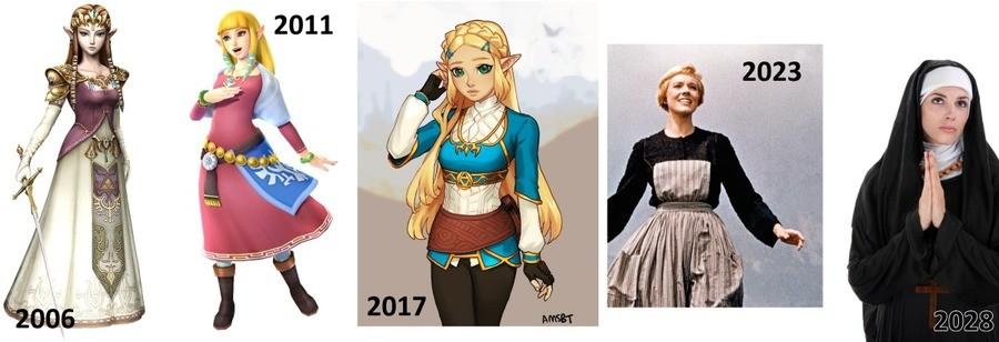Zelda is getting more demure each gen. Princess Zelda gets more ~cuteshywaifu with every new game. Member Sheik? Ooh, I member!.